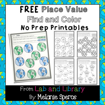 Earth Day Place Value Find and Color Freebie