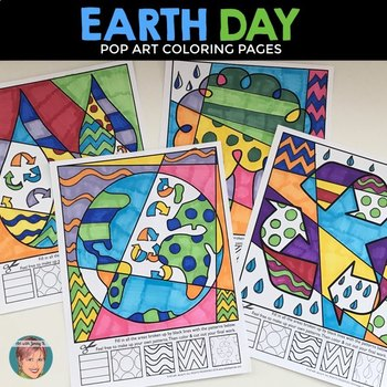 earth day activity pop art coloring sheets