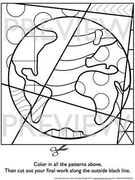 Earth Day Activity Pop Art Coloring Sheets by Art with Jenny K