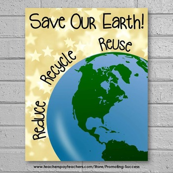 Earth Day Poster, Environmental Science Classroom Decor, Reduce Reuse Recycle