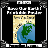 Science Earth Day Poster, Reduce Reuse Recycle Poster 8x10 or 16x20