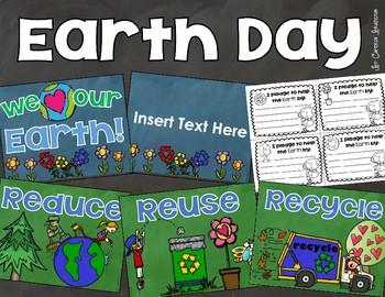 Earth Day Posters Bulletin Board Pledge Activity Editable