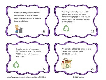 Earth Day Powers of 10 Task Cards
