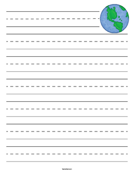 Earth Day Primary Lined Paper