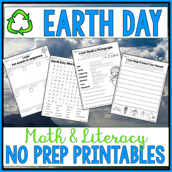 Earth Day Activities | NO PREP Earth Day Math and Literacy Worksheets