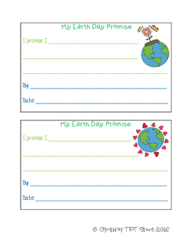 Earth Day Promise Writing