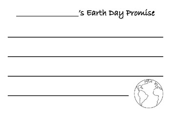 Earth Day Promise Writing Activity
