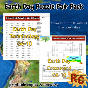 Earth Day Puzzle Pair Pack 6-10th Graders