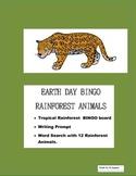 Rain Forest Animals Bingo- Pre K- 2nd Grade- Writing Prompt