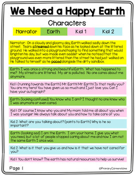 Earth Day Reader's Theater: Vocab. cards, comprehension, & graphic organizers