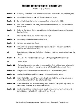 Mother's Day Reader's Theatre Script.  What is Mother's Day? NO PREP lesson.