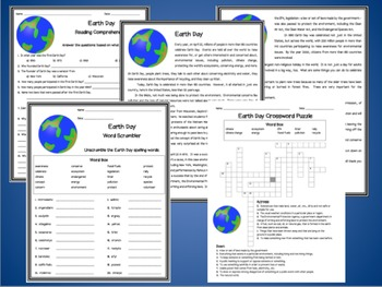 Earth Day Activities for Reading Comprehension, Spelling, and Vocabulary