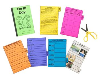 Earth Day Reading Comprehension Flip Book Activities- 2nd & 3rd grade