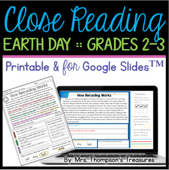 Earth Day Reading Comprehension Nonfiction Grades 2-3 | TpT