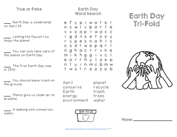 Earth Day Reading Comprehension Trifold