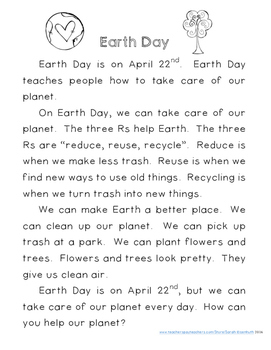Earth Day Reading Comprehension with Writing Extension First Grade