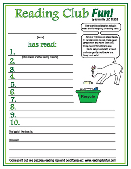 Earth Day Reading Log and Certificate Set