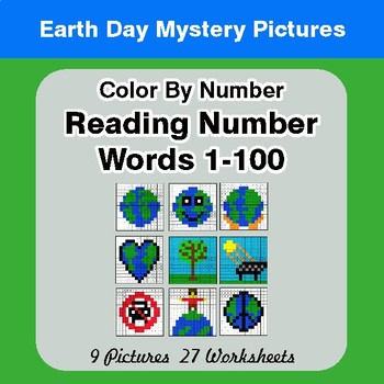 Earth Day: Reading Number Words 1-100 - Color By Number - Mystery Pictures