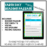 Distance Learning Earth Day Reading Passage and Questions