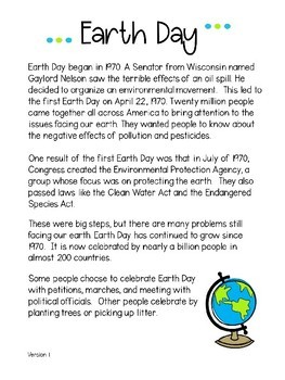 Earth Day Reading Passages #DollarDeal