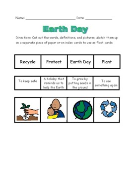Earth Day Reading Unit, special ed; Boardmaker; vocabulary, comprehension