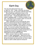 Earth Day Reading with Vocabulary Matching