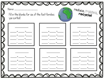 Earth Day Recyclable Fact Families Math Center