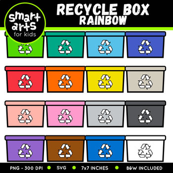 Earth Day Recycle Box Rainbow Clip Art