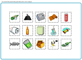 Earth Day Recycle or Trash:  Worksheets, Morning Bell Work, Cut and Paste