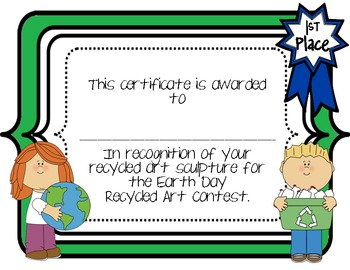 Earth Day Recycled Art Contest Certificates