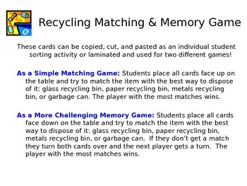 Earth Day Recycling Matching and Memory Card Games