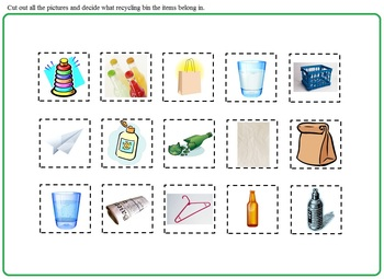 Earth Day Recycling:  Morning Bell Work, Worksheets, Cut and Paste