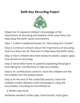 Earth Day Recycling Activity with Recycling Sort Center and Parent Letter
