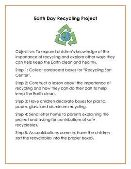 Earth Day Recycling Project Lesson Plan with Activity Ideas and Note to Parents