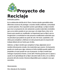 Earth Day Recycling Project- Spanish