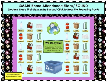 Earth Day Recycling SMART Board Attendance Activity w/ SOUND