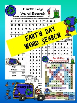 Earth Day Reduce, Reuse, Recycle Word Search
