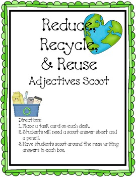 Earth Day Reduce, Reuse, Recycle Adjective Packet