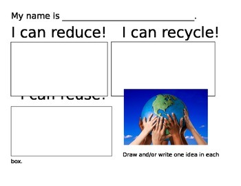 Earth Day- Reduce Reuse Recycle Idea chart