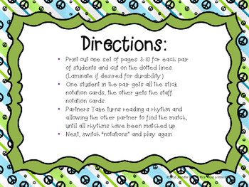Earth Day Rhythm Matching--A stick to staff notation game {ta titi rest}