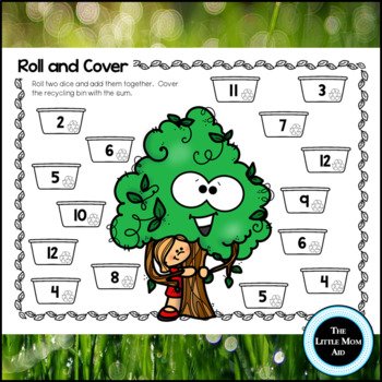 Earth Day Roll and Cover: Numbers, Addition and Subtraction Facts