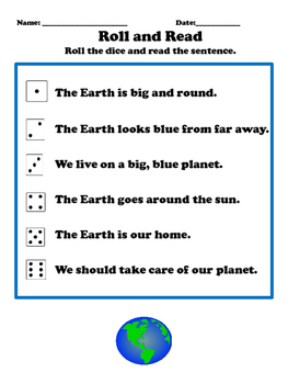 Earth Day Sight Word Roll and Read