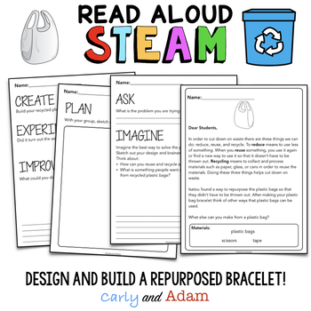 Earth Day STEAM One Plastic Bag Upcycled Bracelet Read Aloud STEAM Activity
