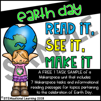 Earth Day STEM Makerspace Tasks and Reading Passages FREE SAMPLE