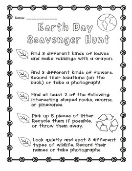 Earth Day: Scavenger Hunt Freebie!