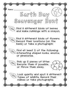 Earth Day: Scavenger Hunt Freebie! Distance Learning