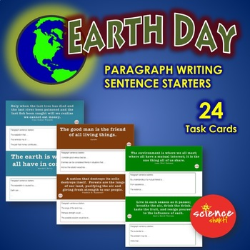 EARTH DAY Science Bell Ringer GROWTH MINDSET Paragraph, Sentence Starters