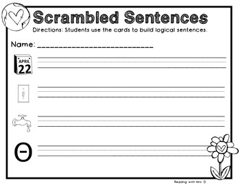 12 Earth Day Scrambled Sentences PLUS Recording Pages