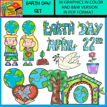 Earth Day Set - 30 Clip Art Images