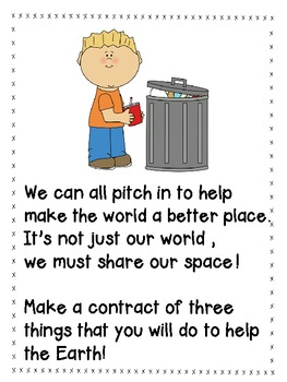 Earth Day Shared Reading PLUS student contract
